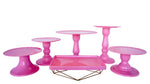 Pink Mosaic Cake Holders - For Rent