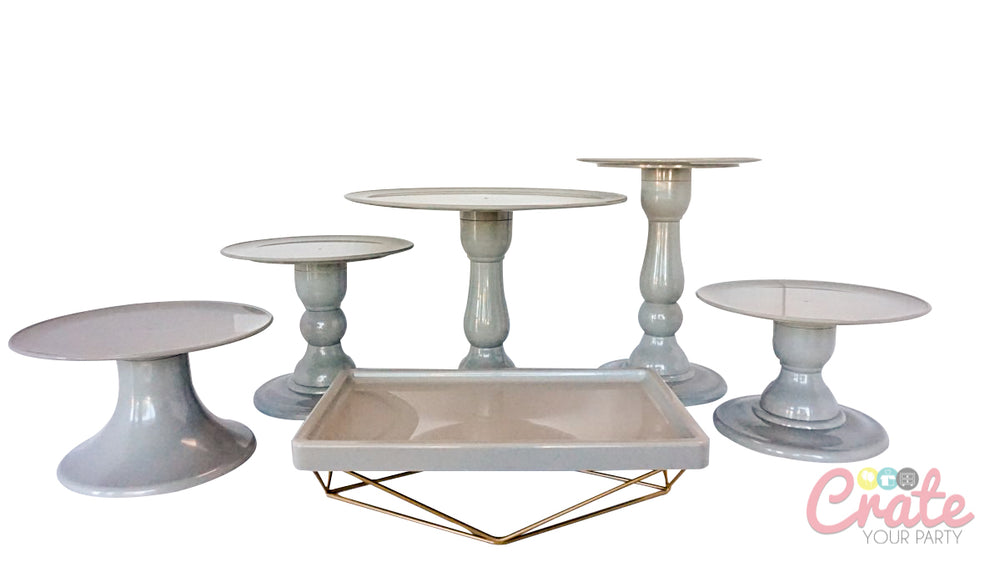 "Gray Tall 9"" Round Plate Cake Stand (280/220)"