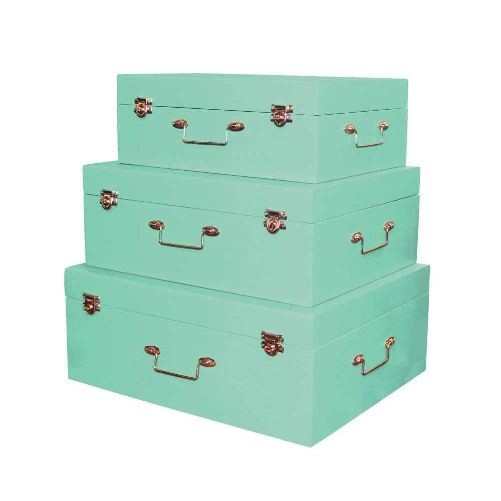 3 Piece Pastel Mint Green Accent Decor Suitcases