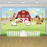 Red Barn Farm Theme Premium Fabric Backdrop 13'x8'ft- For Rent