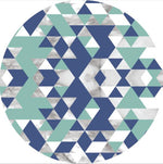 Blue and Marble Geometric  Round Premium Backdrop Fabric 7 ft - For Rent