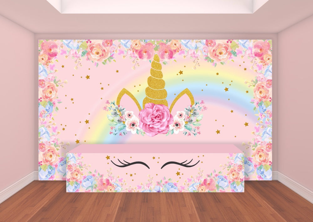 UNICORN 13ft x 8ft tall Rectangular Premium Fabric Backdrop and Table Front Cover