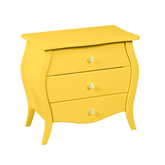 3 Drawer Yellow Accent Nightstand Display