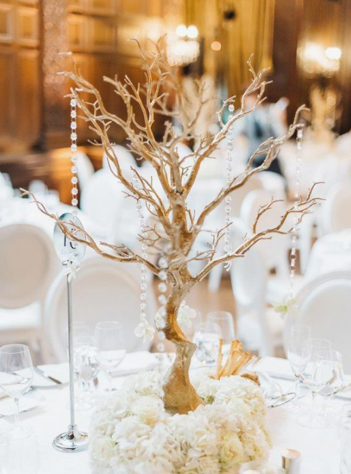 Gold Centerpiece Tree Branch - For Rent