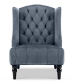 Gray Tall Back Velvet Wing Chair - For Rent