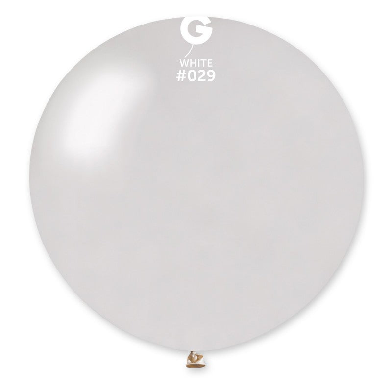 #029 Gemar White Metal Latex Balloon