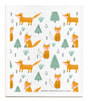 Foxes with Trees Swedish Dishcloth