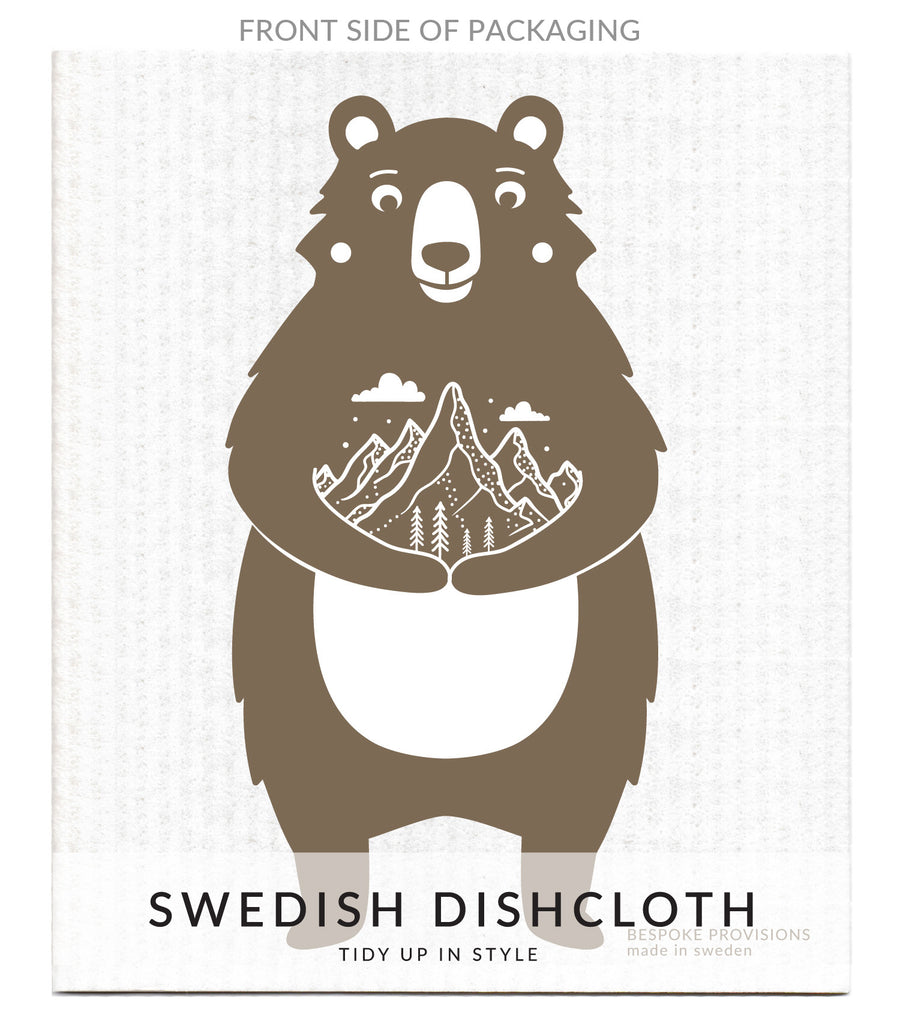 Bear with Mountains Swedish Dishcloth