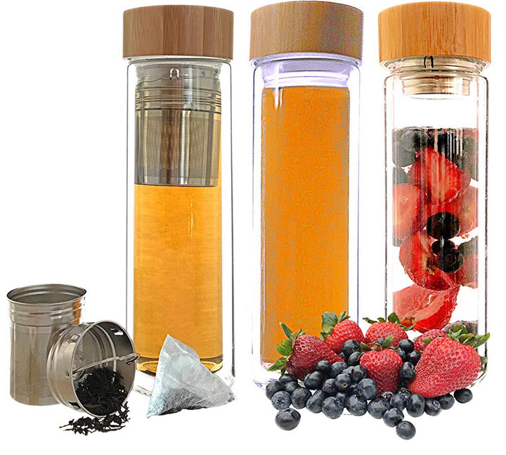 Double Wall Borosilicate Bottle with Infuser