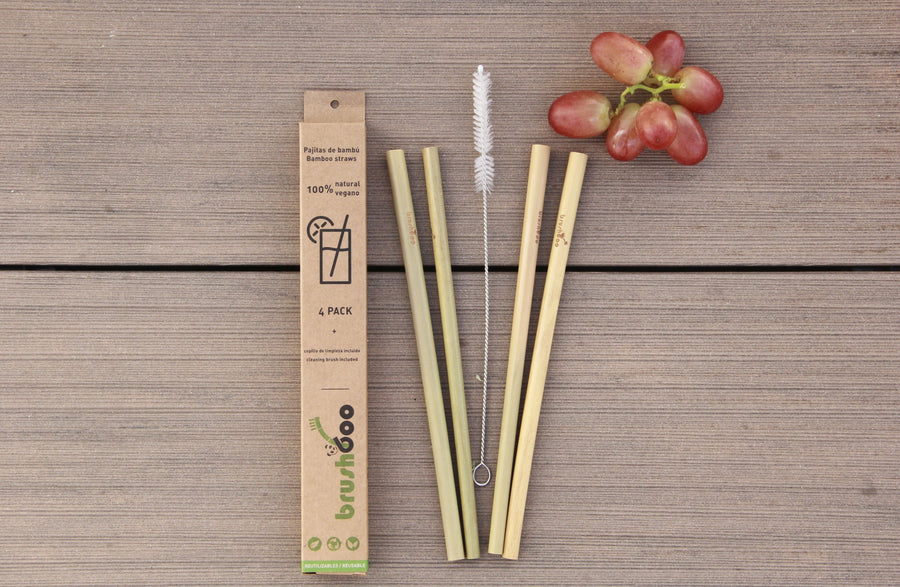 Pack of 4 Bamboo Straws
