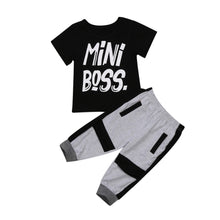 Load image into Gallery viewer, 2 pieces Toddler Boy Clothes Short sleeve Mini Boss Print T Shirt Top and Pants Set Children Baby Boy Outfit