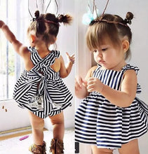 Load image into Gallery viewer, Backless Dress Bow Cotton Briefs 2Pcs Set Clothing Girl 2016 New Baby Girls Clothes Sets 2pcs Summer Sunsuit Outfit Stripe