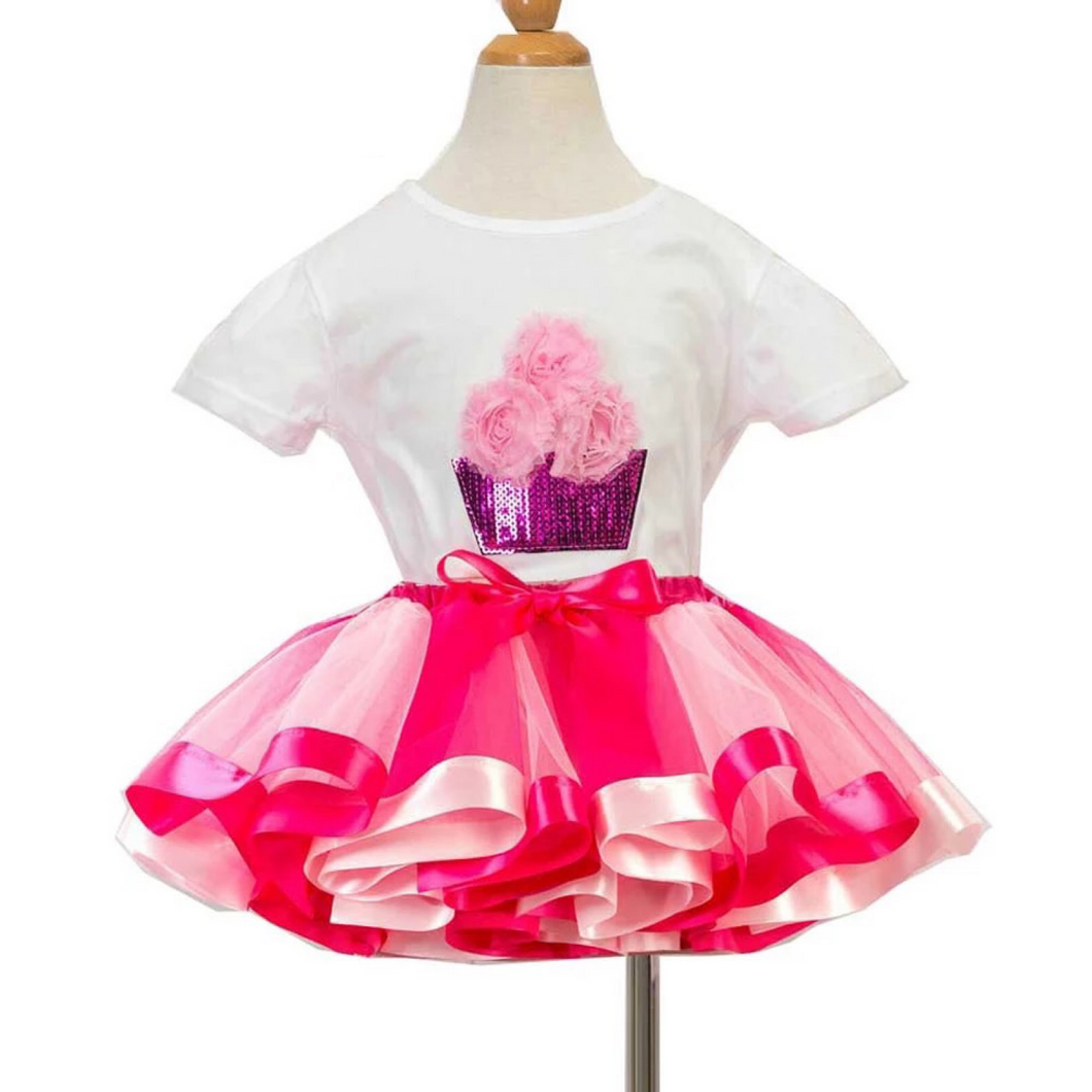 Sweet Candy Sequin T-shirt Birthday Tutu Sets Baby Girls Tutu Dresses Top T-Shirt Tutu Skirt Set Dress Up Costume for Party