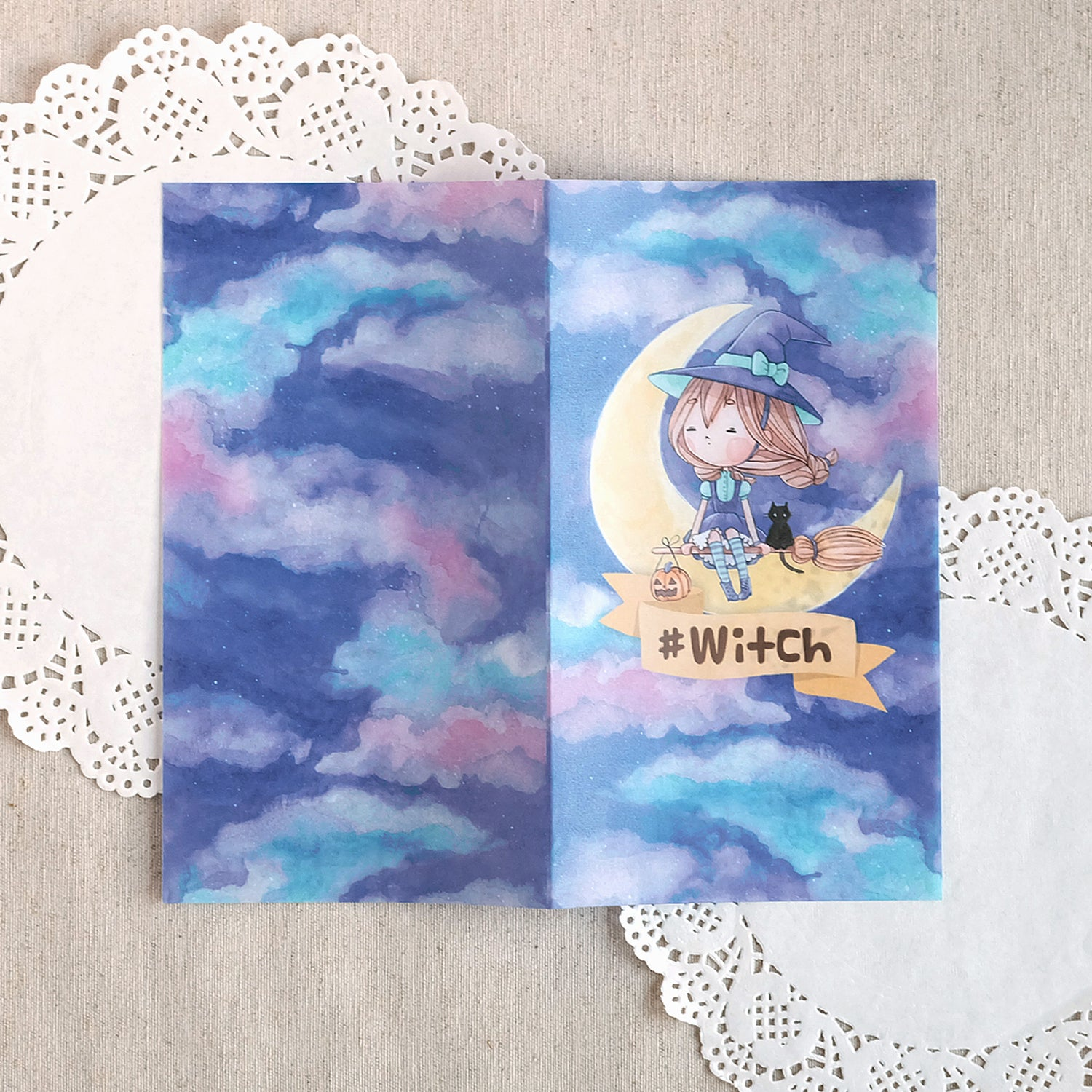 Halloween Witch Printed Vellum for TNs and Ring Planners ~ Customise it with your name!