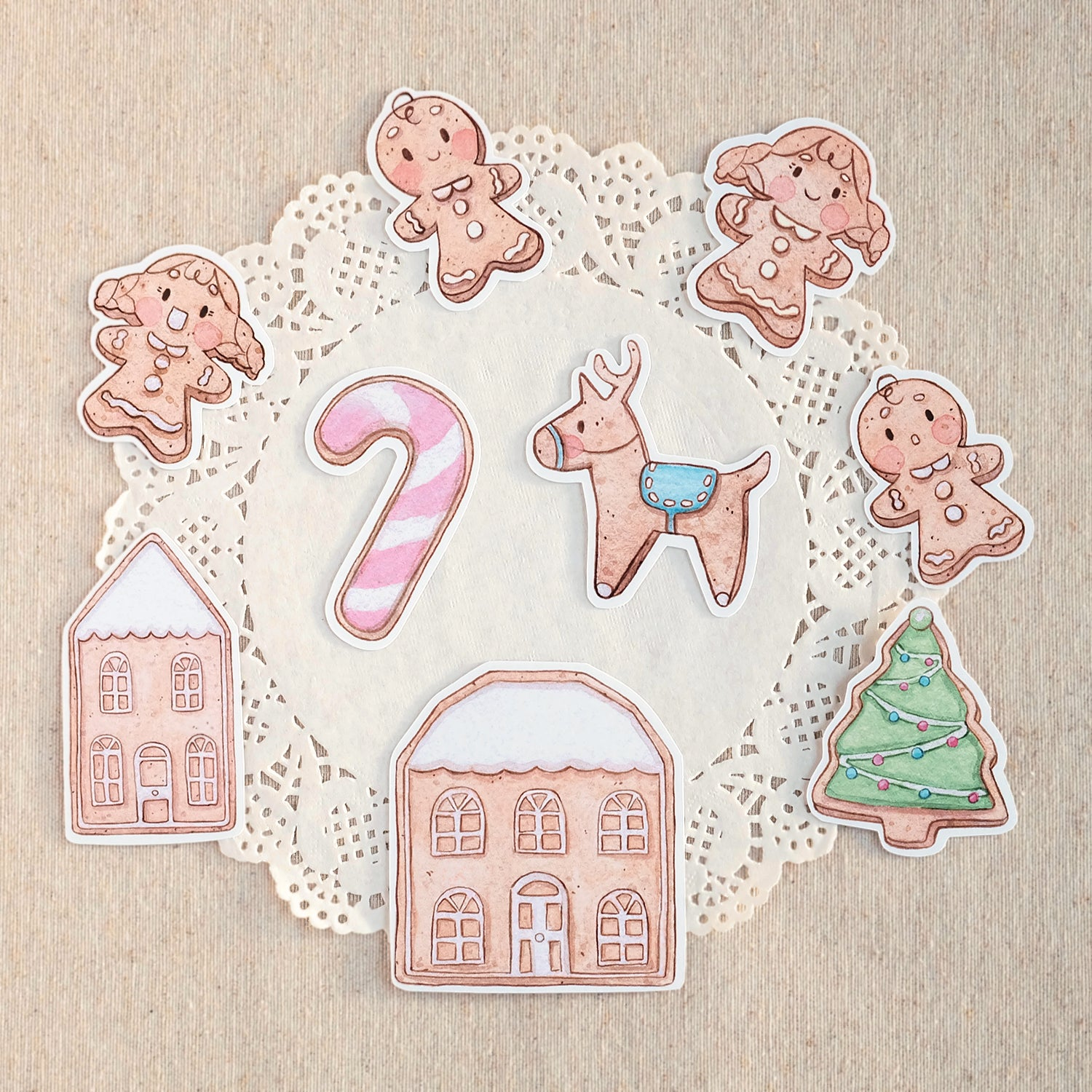 Die Cut Pack 9 pieces Cardboard or Sticker ~ Sweet Christmas