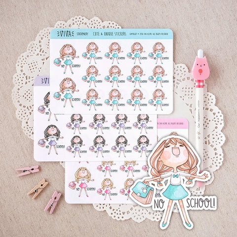 """No School"" Decorative Stickers ~Kawaii girl: Vera, Valerie and Violet~"