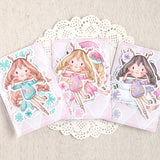 Die Cut Pack 5+6 pieces Cardboard or Sticker ~ Christmas Girls