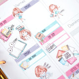 """Homework / Study"" Decorative Stickers ~Kawaii girl: Vera, Valerie and Violet~"