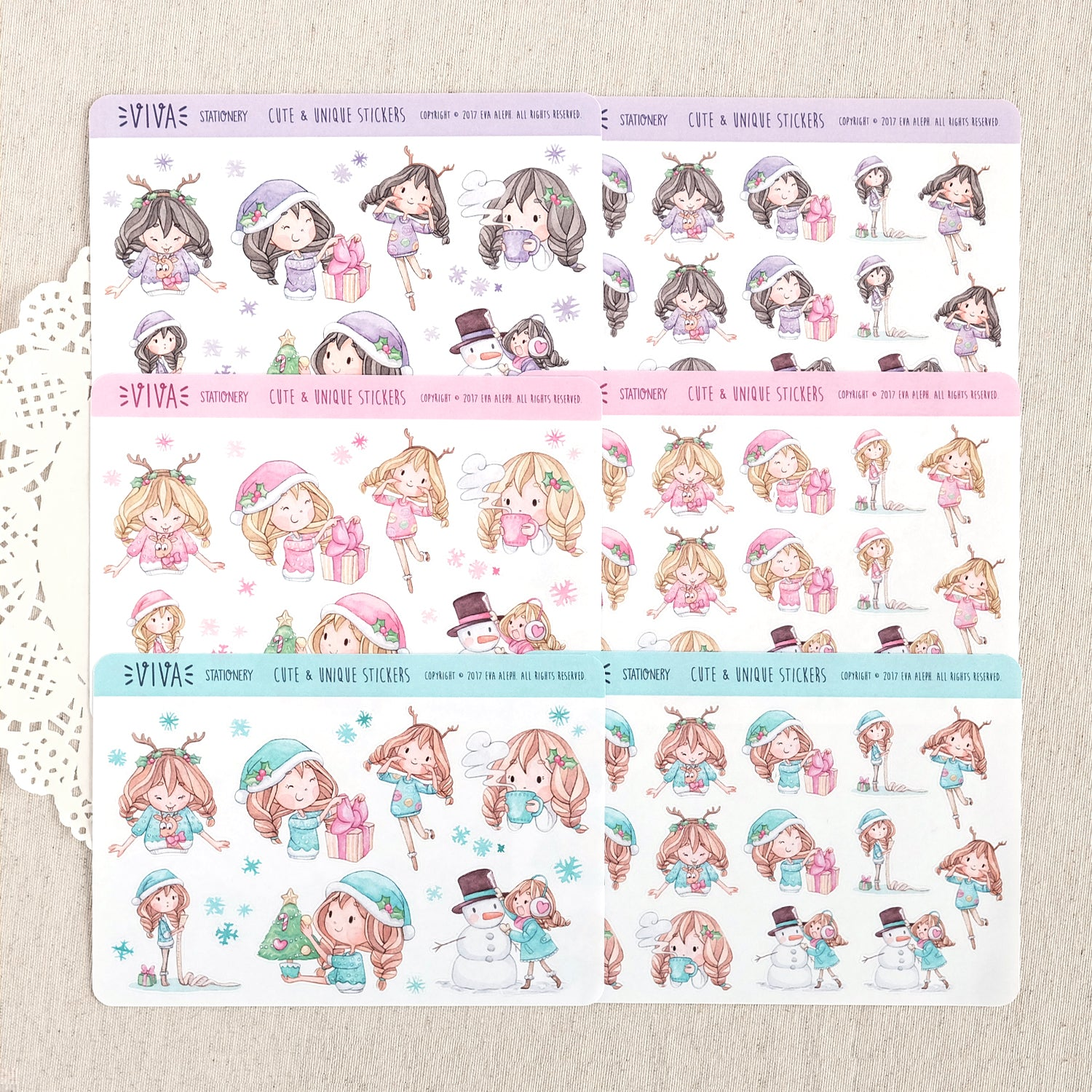 Christmas Girls Stickers ~Kawaii girl: Vera, Valerie and Violet~