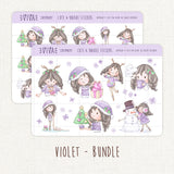 Christmas Girls Decorative Stickers ~Kawaii girl: Vera, Valerie and Violet~