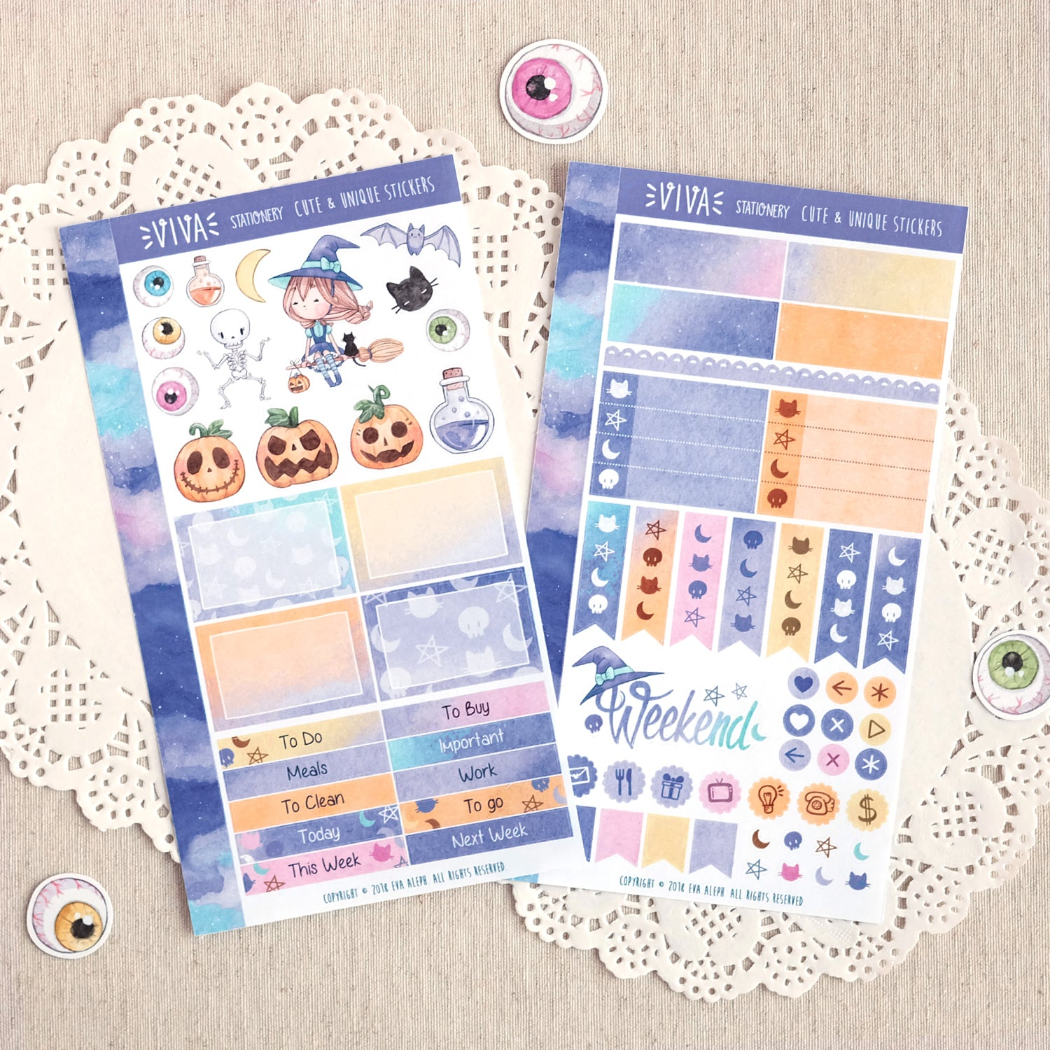 Happy Halloween ~ Mini Sticker Kit for Planners ~ Girl Customizable!