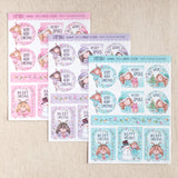 MAXI SIZE! Decorative Stickers for gifts, presents, envelopes, greeting cards ~ Christmas Girls