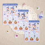 Limited Edition! Happy Halloween Decorative Stickers ~Kawaii girl: Vera, Valerie and Violet~