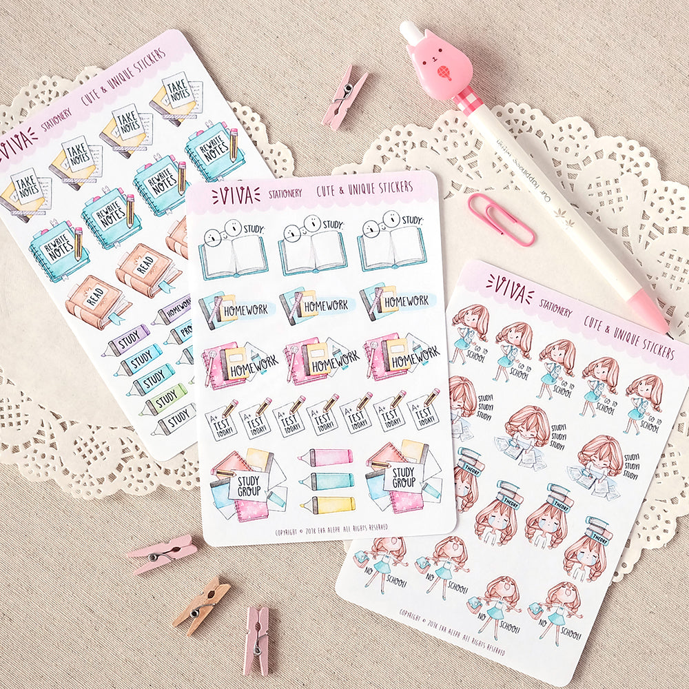 Complete Student Sticker Kit ~ Includes Kawaii girls: Vera, Valerie and Violet~