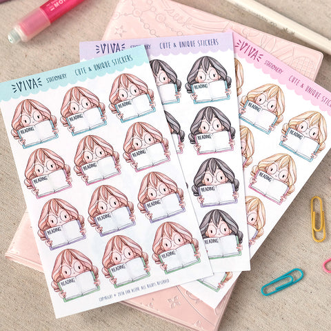 """Currently Reading"" Writing Box Stickers ~Kawaii girl: Vera, Valerie and Violet~"