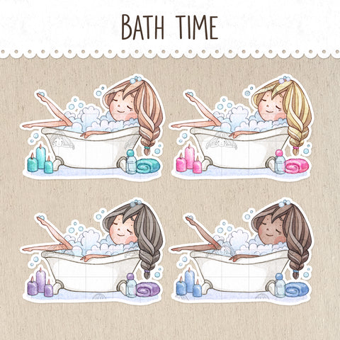 Relaxing Bath Time Decorative Stickers ~Kawaii girl: Vera, Valerie and Violet~