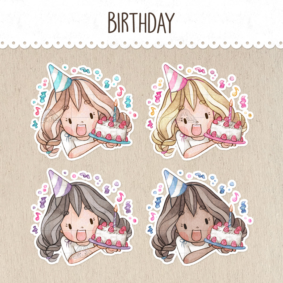 Birthday Celebration Stickers ~Kawaii girls~