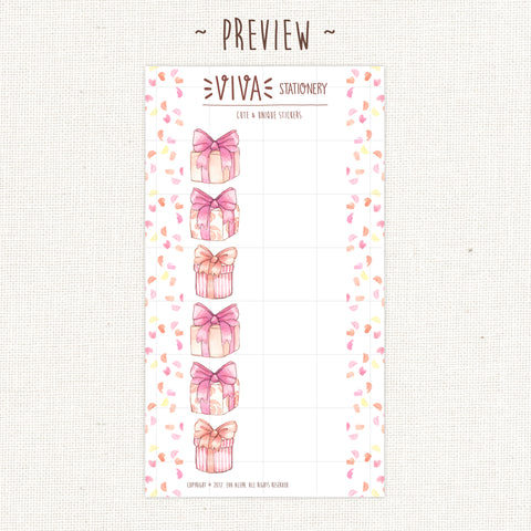 Foldout Birthday Present Stickers ~ Personal Size Sheet