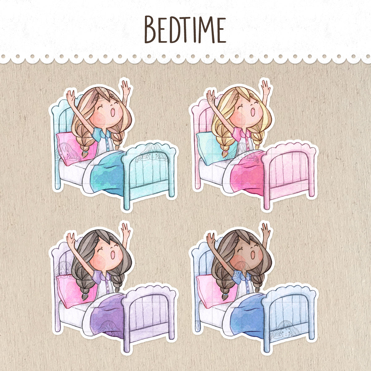 Bedtime, Time to Wake Up Stickers ~Kawaii girls~