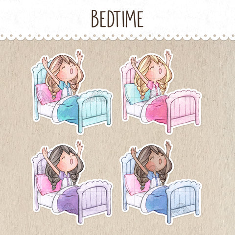 Bedtime, Time to Wake Up Decorative Stickers ~Kawaii girl: Vera, Valerie and Violet~
