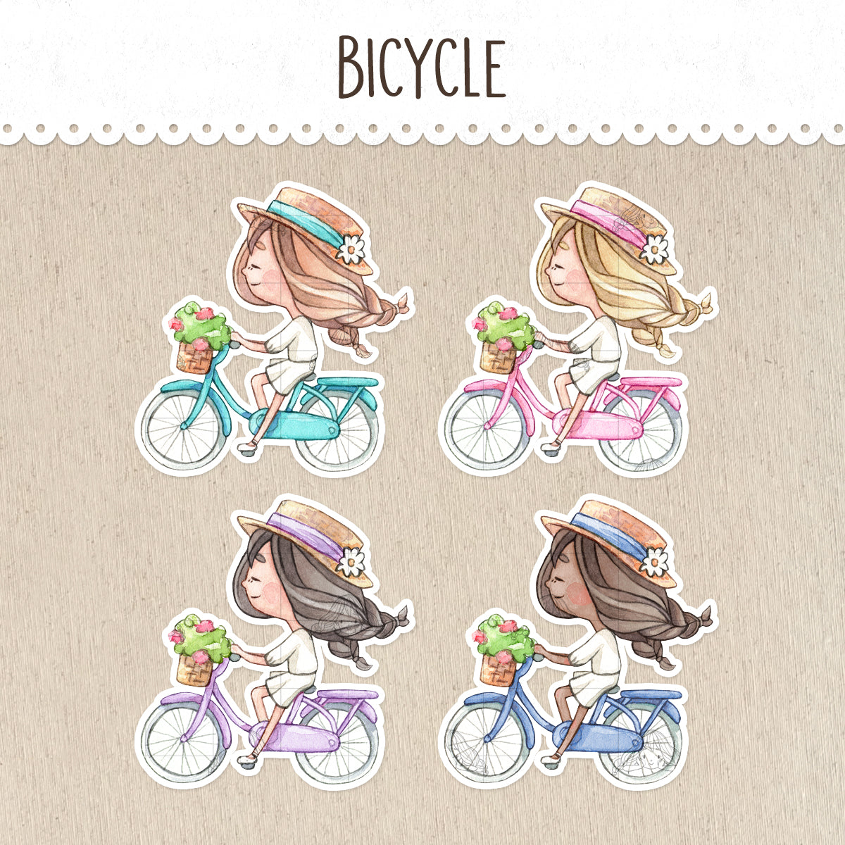 Riding a Bicycle Stickers ~Kawaii girls~