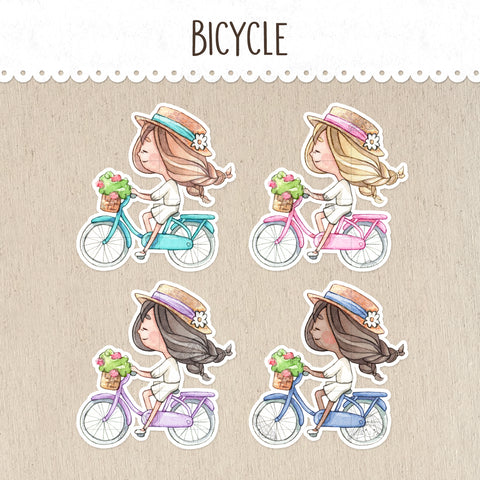Riding a Bicycle Decorative Stickers ~Kawaii girl: Vera, Valerie and Violet~