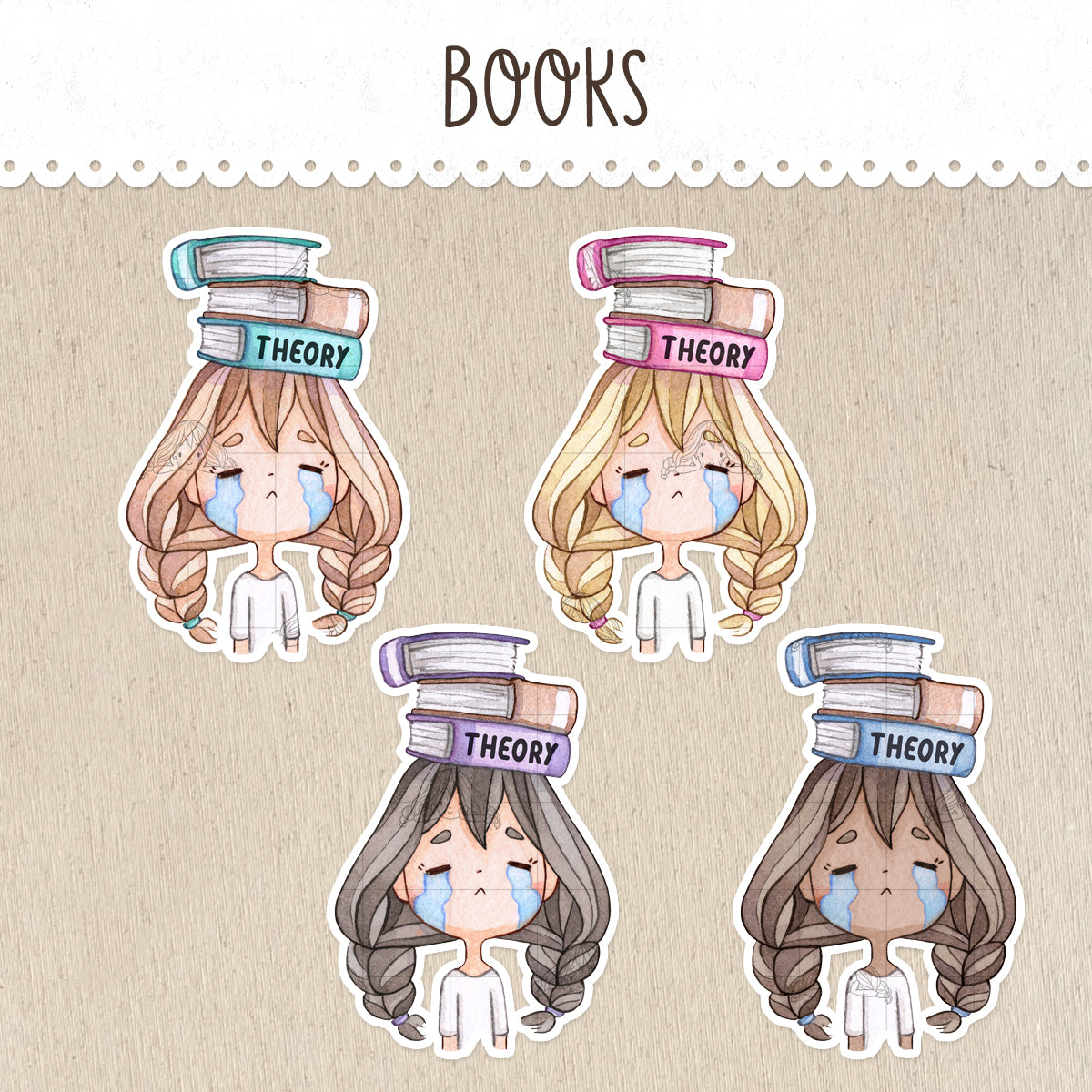 Girl with books Stickers ~Kawaii girls~