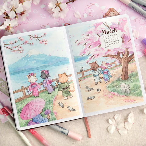 Hanami Cats - A5-A6-B6 Month Cover Stickers for Bullet Journals and Planners