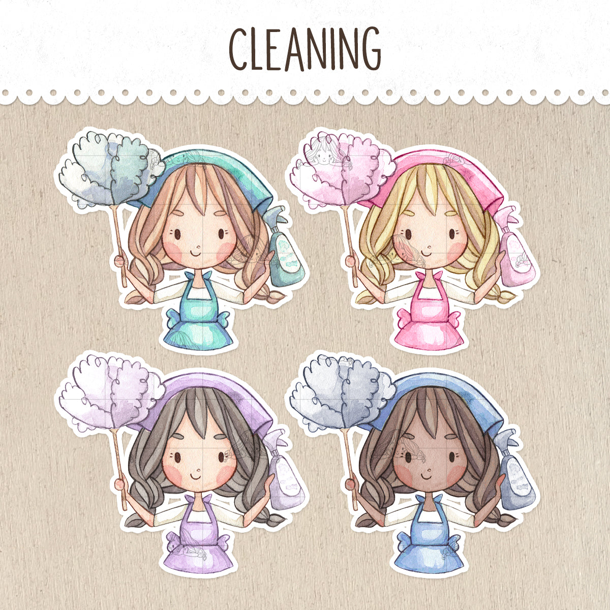 Cleaning Day Decorative Stickers ~Kawaii girl: Vera, Valerie and Violet~