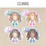 Cleaning Day Stickers ~Kawaii girls~