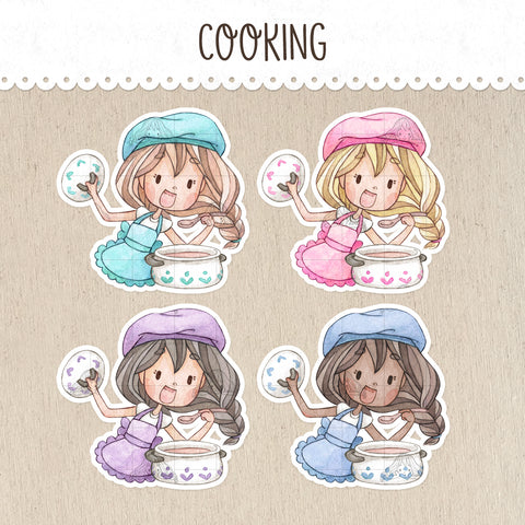Cooking Homemade Food Stickers ~Kawaii girls~