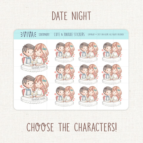 Date Night Decorative Stickers ~ Customizable Characters!
