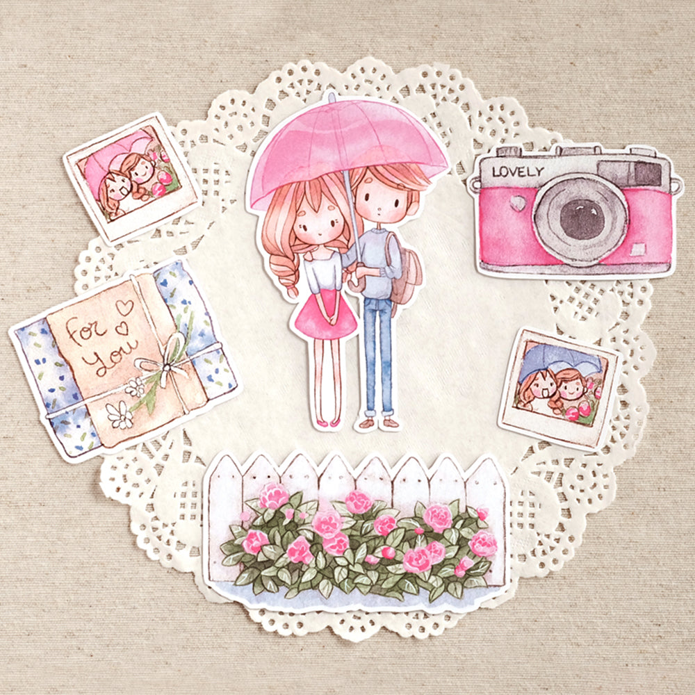 Die Cut Pack 6 pieces Cardboard or Sticker ~ Love Rain