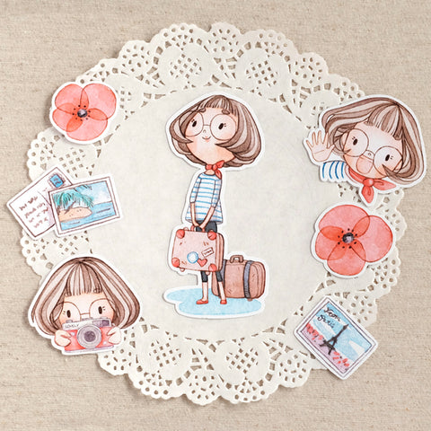 Die Cut Pack 7 pieces Cardboard or Sticker ~Bon Voyage Vivianne