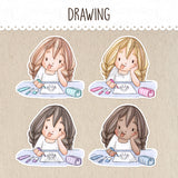 Drawing, Doodling Stickers ~Kawaii girl: Vera, Valerie and Violet~