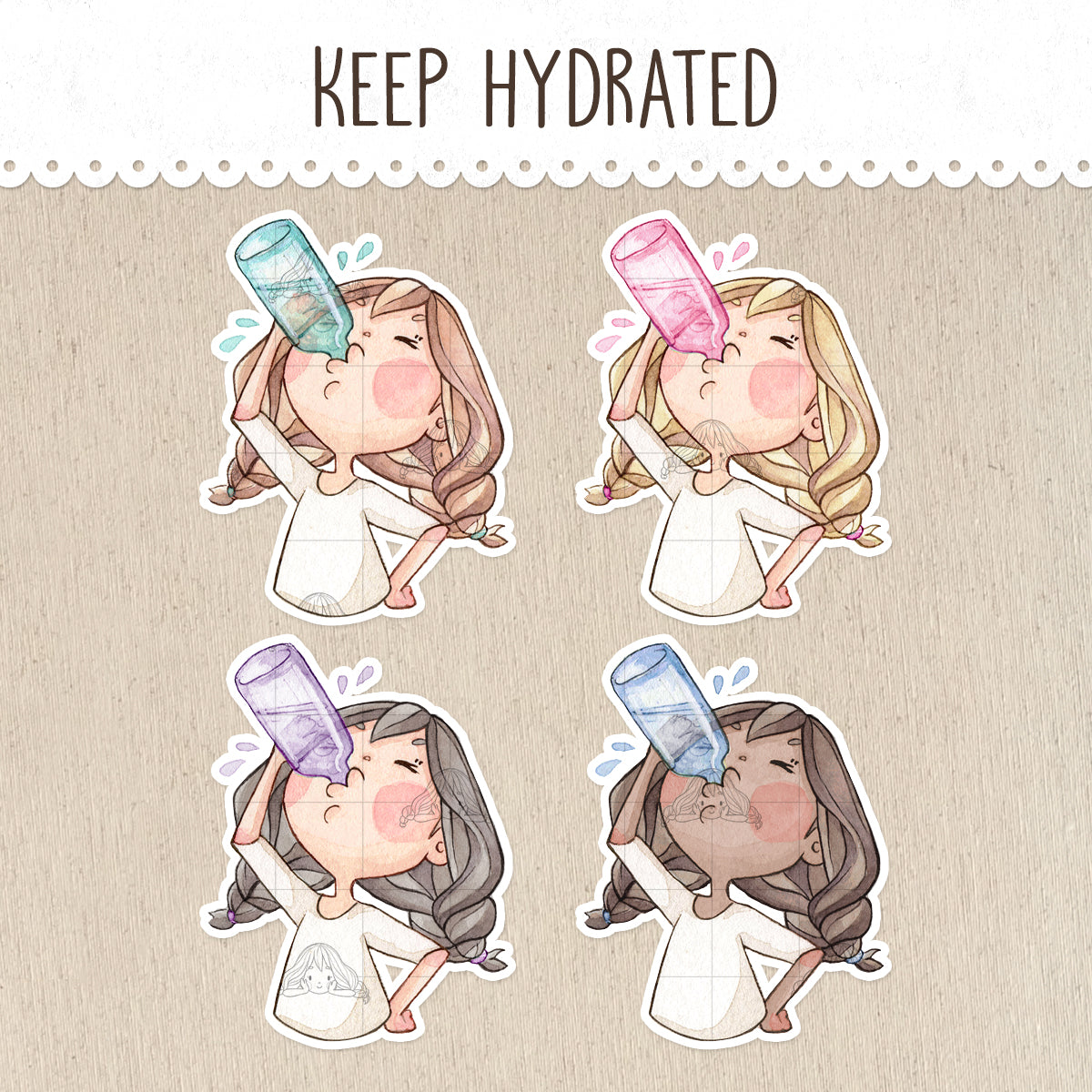 Keep Hydrated! Decorative Stickers ~Kawaii girl: Vera, Valerie and Violet~