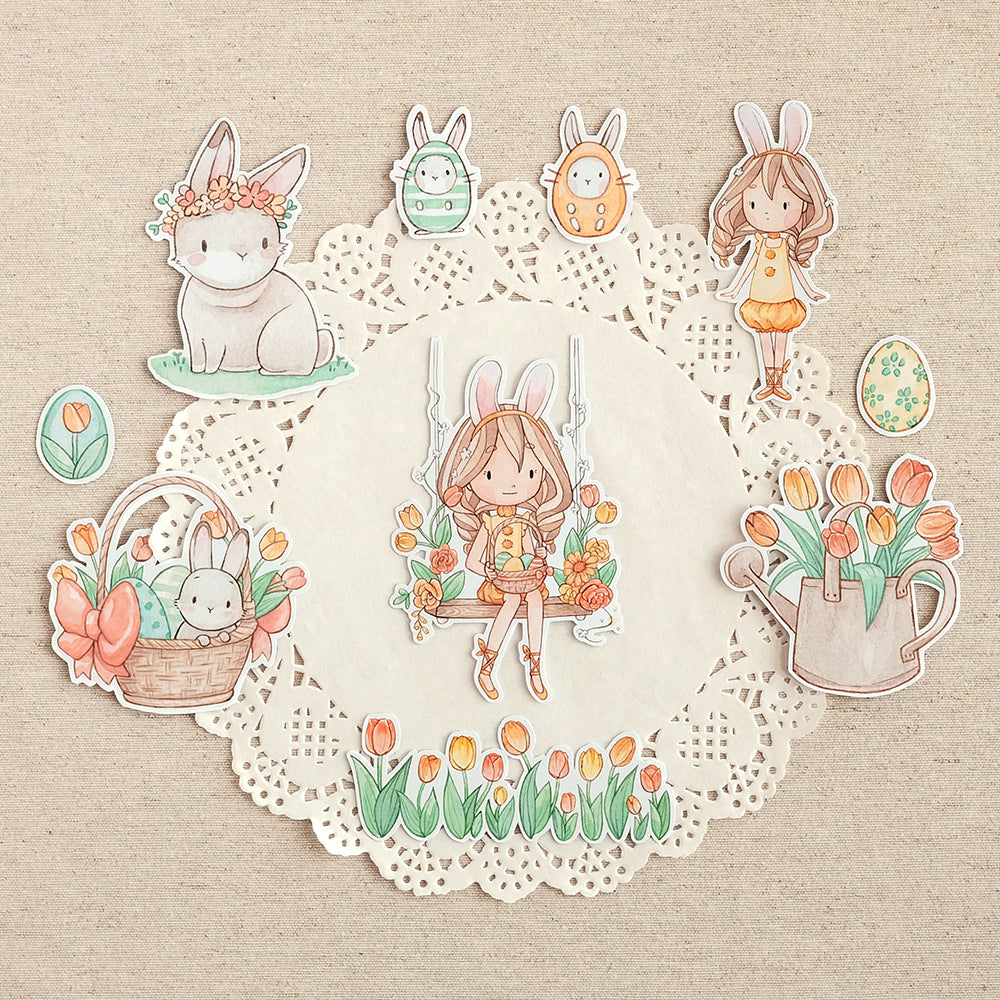Die Cut Pack 10 pieces Cardboard or Sticker ~ A Happy Easter