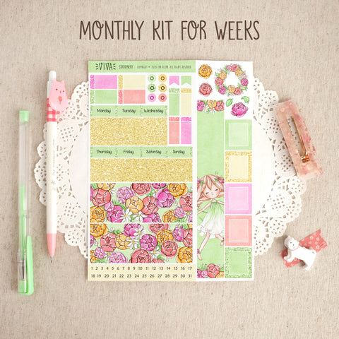 The Flowers of Tomorrow ~Hobonichi Weeks Monthly Kit ~ Customizable!