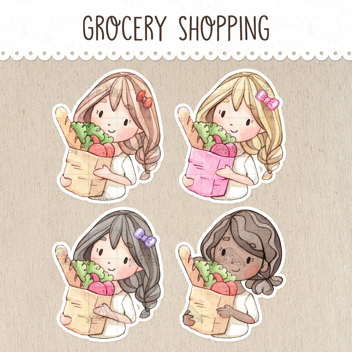 Grocery Shopping Stickers ~Kawaii girls~