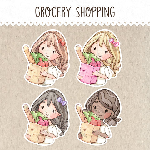 Grocery Shopping Stickers ~Kawaii girl: Vera, Valerie and Violet~